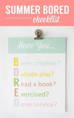 "Love this free printable! Curb the ""I'm bored!"" with this reminder from Simple As That"