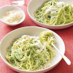 Spaghetti with Creamy Broccoli Pesto Pasta recipe - great for kids! They don't have to know it's full of good for them broccoli.