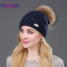 293c538d589 BOAPT Double-deck Knitted Wool Real Natural Raccoon Fur Pompon Hat Female  Winter Braid Cap