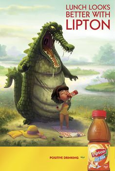 Lipton Ice Tea print ad depicting crocodlie attacking unsuspecting picnicker with slogan 'Lunch looks better with Lipton' / by DDB Sydney, Australia, July 2013 Food Advertising, Creative Advertising, Lipton Ice Tea, Creative Poster Design, Great Ads, Ad Design, Graphic Design, Design Humor, Flyer Design