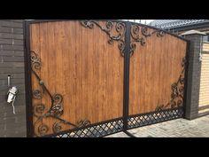Ворота с элементами ковки своими руками - YouTube House Main Gates Design, Fence Gate Design, Steel Gate Design, Front Gate Design, Modern Exterior House Designs, Dream House Exterior, Door Design, Wrought Iron Driveway Gates, Iron Garden Gates