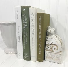 Green and White Decorative Book Set. Shelf decor Mantel Decor Shelf decorating mantel decorating. Buy On Etsy Now