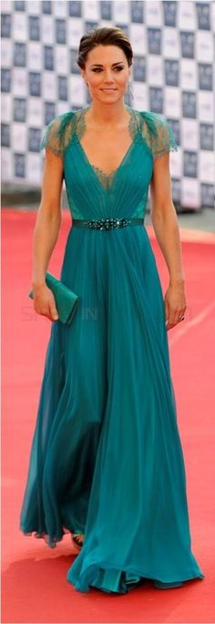 Kate Middleton at our greatest team rises event a-line chiffon turquoise celebrity dress $229.99