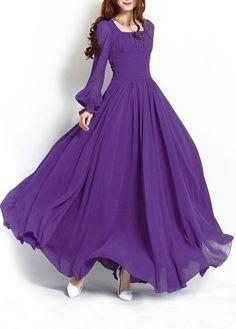 Purple Long Sleeve Chiffon Maxi Dress