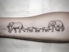 family tattoos Fineline elephant family tattooed by Dino Grey Ink Tattoos, Baby Tattoos, Cute Tattoos, Girl Tattoos, Small Tattoos, Amazing Tattoos, Elephant Family Tattoo, Elephant Tattoo Design, Family Tattoo Designs