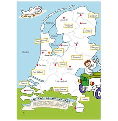 Color, play and discover the Netherlands with this delightful children's map! verymappy.com