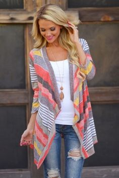 Don't Count Me Out Cardigan – Coral – Closet Candy Boutique
