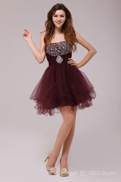 Short/mini A-line Strapless Burgundy Natural Sexy Party Dresses