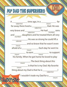 Fathers Day Mad Lib Printable - Over The Big Moon » Free Printables