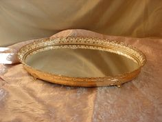 Vtg Hollywood Regency Vanity Tray Mirror Gold tone Filigree Ornate Footed 14 in Seller florasgarden on ebay