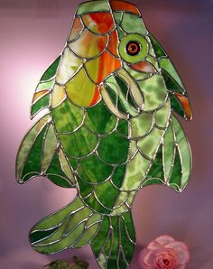 Stained Glass Colorful Fish Has Been Caught   (381) by StainedGlassbyWalter on Etsy