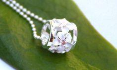 Hawaiian Silver Plumeria Barrel Pink Pendant Necklace