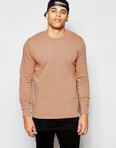 ASOS Sweatshirt With Crew Neck In Camel