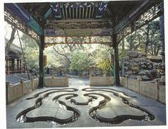 """chinesecool: """" The Cup-floating Canal in Xishang Pavilion, Forbidden City, Beijing From Classical Gardens in China by Liu Tuo, Better Link Press, 2012. """" In the famous Xishang Pavilion, the stone floor was chiseled with a curving ditch called the..."""