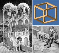 Escher nel 1958 realizza la sua prima litografia dedicata alle costruzioni impossibili: Belvedere. Un ragazzo tiene in mano un cubo impossibile (il cubo di Necker) e, mentre osserva questo oggetto assurdo, non si rende neanche conto del fatto che l'intero Belvedere è basato su quella stessa struttura (da Inganni spaziali e illusioni ottiche |DidatticarteBlog)