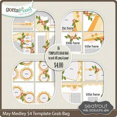 New Release: May Medley $4 Template Grab Bag by Seatrout Scraps! 16 templates in psd, tiff, png and page file formats. GottaPixel; https://www.gottapixel.net/store/product.php?productid=10027814&cat=0&page=1. 05/27/2016