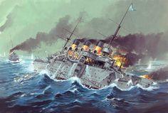Acorazado Oslyabya (clase Peresvet) hundiéndose durante la batalla de Tsushima tras resultar alcanzado por numerosos impactos japoneses, varios de los cuales se produjeron a proa bajo la línea de flotación, no pudiéndose detener la inundación por lo que el buque se fue a pique junto a unos 500 hombres de su tripulación.