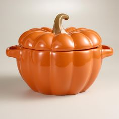 Prepare fine harvest fare casseroles, comforting macaroni and cheese and more with our exclusive Orange Pumpkin Casserole Baker. >> #WorldMarket Thanksgiving