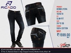 Ricado #Jeans  Product: Denim Lycra Fit: Slim-Fit  Size: 28 To 38 Fabric: 100% Cotton  #DenimLycra #Ricado #Cotton #SlimFit #SlimFitDanim