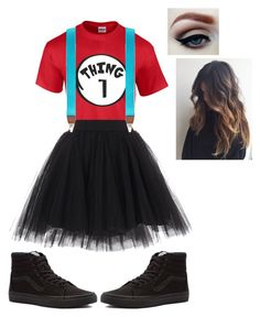 """what im gonna be for halloween (mine is actually long sleeve and has thing 1 / 2 suspenders and i made my tutu)"" by mysterygrl13 on Polyvore featuring art"