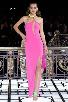 Atelier Versace Spring 2013 Couture: Heidi Klum wore this pink stunner on Germany's Next Top Model. Selena Gomez wore this dress but in the white version. I love the neon colors with the pink and yellow!