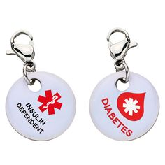 Insulin Dependent Diabetes with Blood Drop Charm - Aluminum - Large