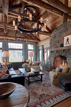 Rustic Design Ideas: Add a subtle rustic influence into your home with rustic accessories. Rustic decor works well incorporated many design styles. Rustic Design, Rustic Decor, Rustic Wood, Wrought Iron Light Fixtures, Rustic Living Room Furniture, Cabin Furniture, Western Furniture, Furniture Design, Log Cabin Homes
