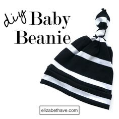 Easy Baby Beanie Tutorial | 3 easy stitches and you can sew baby beanies from scraps of knit fabric! | www.eliabethave.com