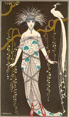 George Barbier, Grande Robe du Soir en Brocart d'Argent, 1914