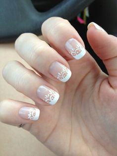 50 French Nails Ideas For Every Bride - Ongles 02 Wedding Nails For Bride, Bride Nails, Wedding Nails Design, Nail Wedding, Wedding Manicure, French Nails, French Manicure Nails, Elegant Nail Designs, Elegant Nails