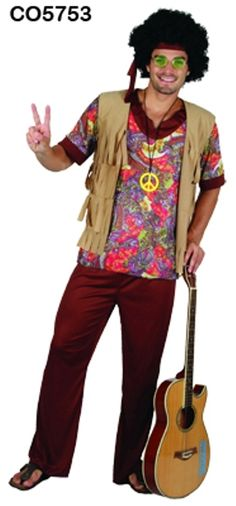 Adult Woodstock Hippie Hippy 70's Costume Fancy Dress Up Party - Medium