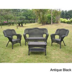 International Caravan Four-piece PVC Wicker/ Steel Outdoor Settee Group | Overstock.com Shopping - Big Discounts on International Caravan So...