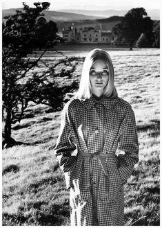 Photo: Norman Parkinson. Tania Mallett in a reversible raincoat by Dannimac, Leighton Hall, Lancashire, Vogue UK, March 1960.
