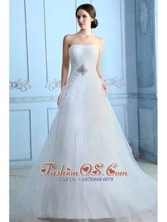 Pretty A-line Strapless Low Cost Wedding Dress Court Train Tulle Beading  http://www.fashionos.com  http://www.facebook.com/fashionos.us  Cast a spell on the whole room by donning this exquisite strapless A-line wedding dress! The simple-style while extremely pure bodice, which culminates in a sweetheart organza neckline. A finely ruched tulle wraps above the whole dress, and delicate beading makes the dress stand out.