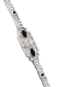 Diamond & Onyx Filigree Design Bracelet  by Gatsby Glam: Estate Jewelry on @HauteLook