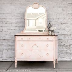 s i hate pink but these makeovers changed my mind , This royal marbled pink dresser Furniture Deals, Furniture Projects, Diy Furniture, White Nightstand, Dresser As Nightstand, Dressers, Shabby Chic Furniture, Painted Furniture, Refinished Furniture