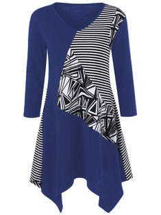 Striped Trim Asymmetrical Longline T-Shirt #shoes, #jewelry, #women, #men, #hats, #watches