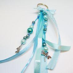 Porte clef / bijou de sac ruban papillon bleu Bleu Turquoise, Creations, Charmed, Key, Personalized Items, Ideas, Blue Butterfly, Porte Clef, Tape