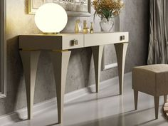 Coiffeuse laquée. Mod. HELENNA Nightstand, Entryway Tables, Furniture, Home Decor, Dressing Tables, Vanities, Solid Wood, Drawer, Home Decoration