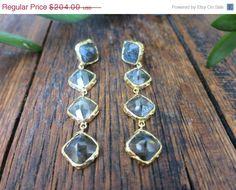 SALE Labradorite and Gold Ada Drop Earrings  by mialarajewelry