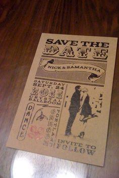 Wedding Stationery Photos :  wedding black diy invitations old fashioned paper bag red vintage white Save The Date