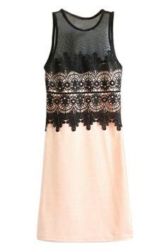 $22 ROMWE | ROMWE Lace Mesh Panel Sleeveleess Pink Dress, The Latest Street Fashion
