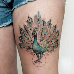 Find fresh ideas about peacock tattoo, peacock feather tattoo, sleeve peacock tattoos and peacock tattoo designs for women Girly Tattoos, Body Art Tattoos, New Tattoos, Tatoos, Peacock Feather Tattoo, Feather Tattoos, Small Peacock Tattoo, Watercolor Peacock Tattoo, Peacock Tattoo Sleeve