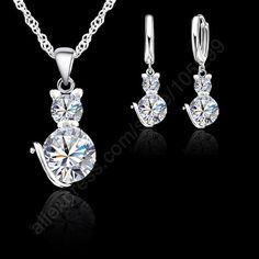 Livraison gratuite détail romantique Engagement en argent 925 Cute Cat parures collier boucles d'oreilles avec cristal autrichien
