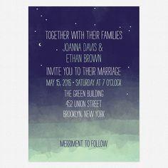 Pretty Lights Wedding Invitation Sample Set, Indie, Modern, Whimsical, Watercolor, Outdoor, Night, Stars, Moon, Sky, Fun