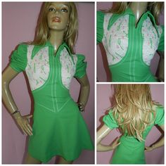 Vintage 60s NOVELTY Green/White TENNIS Racket print Wide collar Dolly Mod Scooter Mini GoGo dress 8 XS 1960s Twiggy Modette Kitsch by HoneychildLoves on Etsy