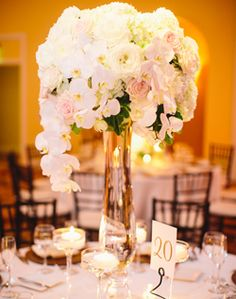 tall white flower wedding centerpieces - Google Search