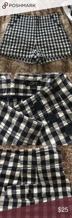 """Gingham Sailor Shorts Super cute! Navy and cream gingham shorts, 4"""" inseam, fits slightly higher waisted. Well cared for! LOFT Shorts"""