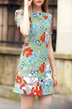 Summer Sweet Floral Print Short Sleeve Mini Shift Dress - OASAP.com