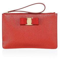 Salvatore Ferragamo Miss Vara Bow Leather Wristlet ($370) ❤ liked on Polyvore featuring bags, handbags, clutches, apparel & accessories, rosso, genuine leather handbags, red purse, real leather handbags, red leather wristlet and leather purses